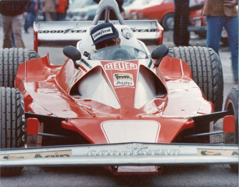 Niki's back up car being rolled through the paddock of 1976 USGP.  Photo by BMac!